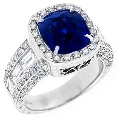 5.39ct Cushion Cut Ceylon Sapphire, 3.90ct Baguette & Round Cut Diamond 18k White Gold Ring - See more at: http://www.newyorkestatejewelry.com/rings/estate-5.39ct-ceylon-sapphire-and-3.90cttw--diamond--ring/24650/1/item#sthash.dbeN9Vyy.dpuf