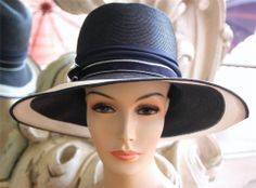 Vintage Adele Claire Navy Blue and White Straw Hat NOS NWT New Old Stock w/Tags
