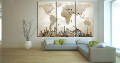 LARGE World Map №702 Canvas Print Canvas Print