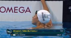 """Syrian refugee Yusra Mardini clocks 1:09.21 to win her 100 butterfly heat #Rio2016"""