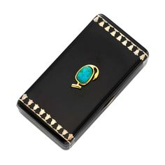 Cartier Art Deco Egyptian Revival Enamel, Turquoise and Silver Gilt Case | From a unique collection of vintage boxes and cases at http://www.1stdibs.com/jewelry/objets-dart-vertu/boxes-cases/
