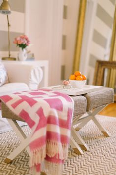 blanket and stools