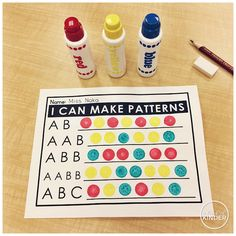 A Pinch of Kinder: Kindergarten Math Centre - I Can Make Patterns with Bingo Daubers!