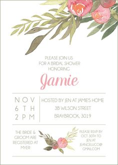 Floral Shower Invite Digital File by CWesterbuhr on Etsy