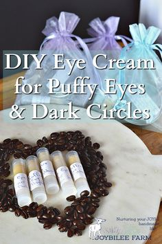 "Are you tired of looking in the mirror and seeing baggy eyes, dark circles, and that ""old lady"" look?  This DIY eye cream has natural caffeine to tighten up under eye skin, brighten those dark circles and reduce puffiness and water retention.  While it won't make you feel 20 years younger or guarantee 8 hours of sleep, it will help reduce that tired eye look that comes from late nights, not enough sleep, or water retention.  Similiar commercial products sell for over $25 for just an ounce…"