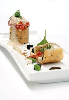 cannelloni met 'ratatouille' van aardpeer, aardappel en bloedpens lauwe kreeftenstaart zalf en crisp van aardpeer