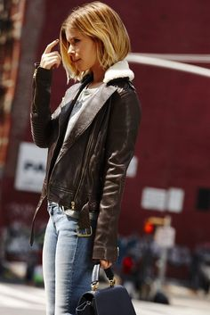 leather and shearling outfit