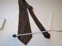 Palio Italian Italy menswear silk neck tie necktie Men's GUC brown blue RARE 61 #Palio #tie