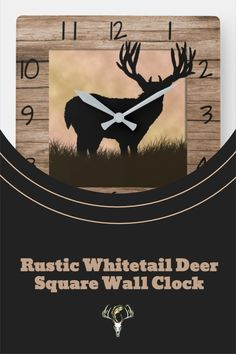 Whitetail Deer Hunter's Square Wall Clock. #wildlife #homedecor Hunting Home Decor, White Tail, Christmas Card Holders, Deer, Wildlife, Clock, Rustic, Wall, Prints