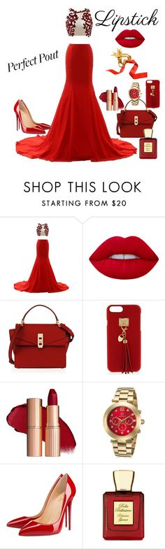 """""""Red"""" by the-luxurious-glam ❤ liked on Polyvore featuring beauty, Lime Crime, Henri Bendel, Cabochon, Christian Louboutin, Bella Bellissima and Christian Lacroix"""