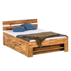 Massivholzbetten eiche  Steigerhout bed met lades | scaffold wood bed with drawers | http ...