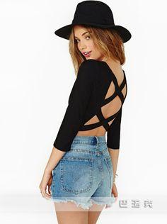 Cross nightclub ladies sexy backless hollow Slim tight long-sleeved T-shirt  bottoming shirt be6717034