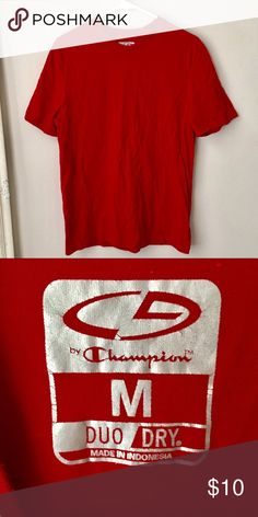 Men's champion duo dry red tee shirt Good condition Champion Shirts Tees - Short Sleeve