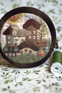 Patchwork coin purse Spring in the city a purse