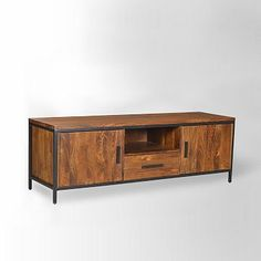 "Metal + Wood Media Console #westelm 47""w x 15""d x 31""h. $11c Solid mango wood and iron. Drawer opens on wooden glides. Made in India."
