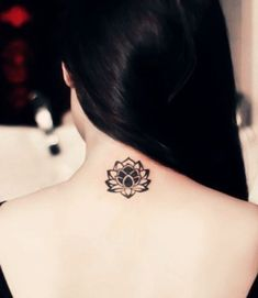 Check out Visual lotus tattoo or other lotus neck tattoo designs that will blow your mind, tattoo ideas that will be your next inspiration. Small Lotus Tattoo, Lotus Flower Tattoo Design, Flower Tattoo Back, Flower Tattoos, Small Tattoos For Guys, Tattoo Designs For Girls, Small Tattoo Designs, Design Tattoos, Girl Neck Tattoos