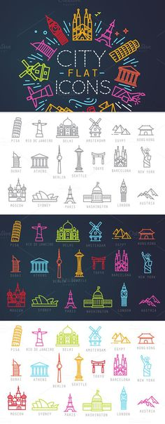 City flat icons by Anna on Creative Market Flat Icons, Icon Design, Web Design, Graphic Design, Design Ideas, Business Brochure, Business Card Logo, Typographie Logo, City Icon