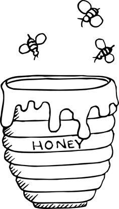 "jar of honey colouring pages Ain ""ع"" assal, honey, عسل"