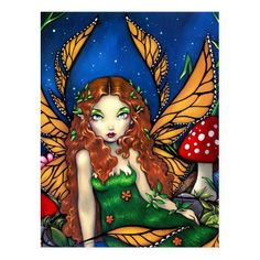 """""""Red Haired Fairy Queen"""" Postcard   redhead hairstyles, redhead model, redhead humor #redheadsofinstagram #redheadwitch #redheadmodel, 4th of july party Animal Art Prints, Fine Art Prints, Steampunk Fairy, Fairy Queen, Fairy Pictures, Fairy Art, Fantasy Artwork, Cute Art, Jasmine"""