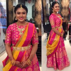 Pretty Rasika in our pretty creation..can t get over this prettiness overload! .. clientdiaries  prettygirl  beautifulcolours  indianwear  indiantraditional  southindian  ghagracholi  langavoni  prettypink  banarasi  handloomlove  handwovenmagic  indiantextiles  indianweddings  beautifuljewelry  bhargavikunam  bhargavistudio  26 December 2016
