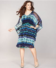INC International Concepts Plus Size Dress, Kimono-Sleeve Printed Caftan - Plus Size Sale & Clearance - Plus Sizes - Macy's
