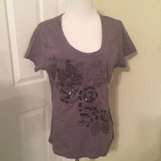 Tommy Hilfiger Embroidered Top Beaded, sequins and beautifully embroidered grey top by Tommy Hilfiger.  Short sleeves NWT (A) Tommy Hilfiger Tops Tees - Short Sleeve
