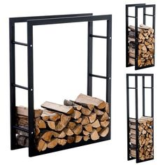 Symple Stuff 100 cm x 25 cm Holzscheitregal aus Metall Outdoor Firewood Rack, Firewood Holder, Firewood Logs, Firewood Storage, Metal Fireplace, Living Room With Fireplace, Range Buche, Pressure Treated Timber, Log Store