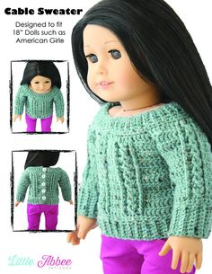 Little Abbee Cable Sweater Doll Clothes Pattern 18 inch American Girl Dolls | Pixie Faire