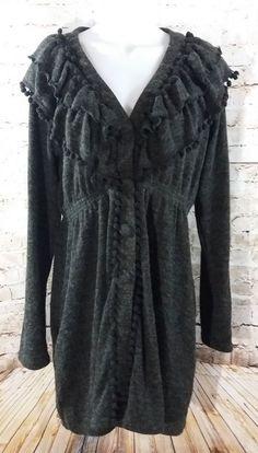 Ryu Anthropologie Gray Cardigan Pom Pom Sweater Size Large L Long Modcloth  #Ryu #Cardigan #modcloth
