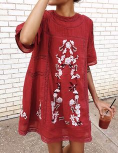 #fall #outfits women's red floral crew-neck elbow-sleeved mini dress