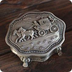 Tibet argent sculpté cheval - calèches boîte à bijoux(China (Mainland))