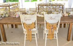 our specialty bride and groom chairs make a great statement for a head tabel or sweetheart table www.islamroadaweddings.com Florida Keys Weddings by Caribbean Catering - Google+