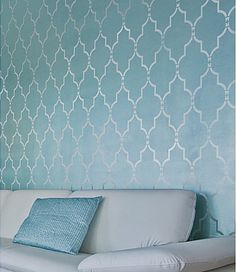 Bedroom wall where headboard is.  Paint wall blue, then apply stencil with pearly white or light silver paint.  Wall Stencil Marrakech Trellis  Lg  by CuttingEdgeStencils on Etsy, $44.95