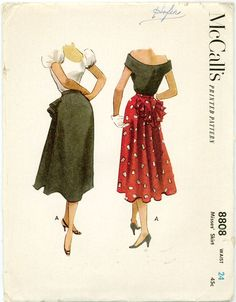 McCall's 8808 - 1950s Misses Skirt with Back Ruffle .