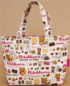 canvas linen Rilakkuma handbag chocolate & coffee
