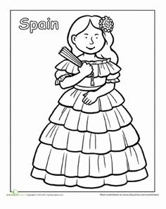 A coloring sheet about traditional clothing from around the world. Here is a picture of a Spanish girl in a traditional dress.