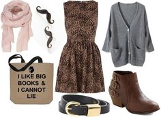 how to style a leopard dress for day with black belt brown booties pink scarf graphic tote gray cardigan and mustache earrings