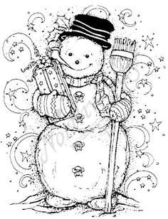 Northwoods Rubber Stamps Wood Mounted Snowman and Forest