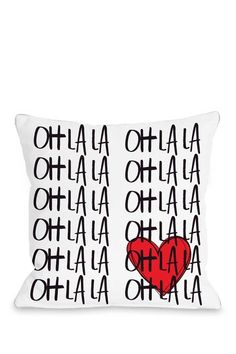 Oh La La White Black Red Pillow on HauteLook