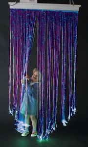 100 Tails in Length, on a wide curtain. This curtain also glows under UV light.