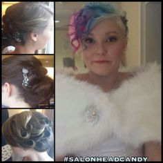 Hair and makeup from today's wedding! Vintage pin curl updo and a pinup style updo on beautiful bridesmaid's hair! The beautiful bride with her blonde, pink, purple and blue cotton candy hair color and amazing vintage inspired curls!   #salonheadcandy #weddings #weddinghair #updo #updos #vintagehair #pincurls #pinup