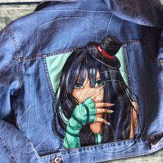 Купить Джинсовая куртка с рисунком - рисунок, джинсовая куртка, джинсовые шорты, футболка, картинка, принт