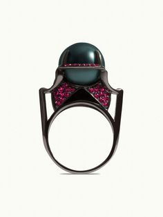 Diaboli Kill - Black Widow Auset Pearl Ring   18K Black Gold and RubiesBlack Widow Auset Pearl Ring   18 karat black gold, black Tahitian pearl, black enamel and pavé set rubies