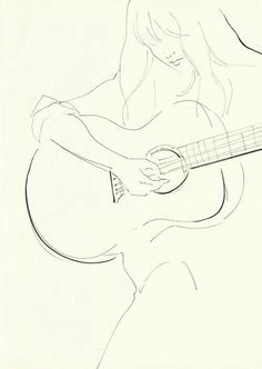 Guitare acoustique The Effective Pictures We Offer You About dessin croquis chien A quality picture Music Drawings, Art Drawings Sketches Simple, Pencil Art Drawings, Easy Drawings, Random Drawings, Guitar Sketch, Guitar Drawing, Guitar Art, Guitar Tattoo