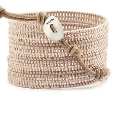 Chan Luu - Rose Gold Mix Stripe Wrap Bracelet on Beige Leather, $195.00 (http://www.chanluu.com/wrap-bracelets/rose-gold-mix-stripe-wrap-bracelet-on-beige-leather/)