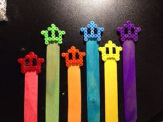Cute Mario Galaxy Luma Star Wooden Hama Perler Bead Bookmark Red Green Orange Blue Yellow Purple