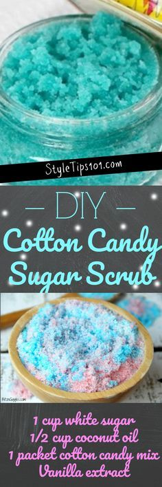 This DIY cotton candy sugar scrub is nice and colorful, smells amazing, and makes a great homemade gift (although we do recommend you make extra to keep some for yourself! Sugar Scrub Homemade, Sugar Scrub Recipe, Diy Body Scrub, Diy Scrub, Homemade Beauty, Homemade Gifts, Diy Gifts, Zucker Schrubben Diy, Diy Beauty Hacks