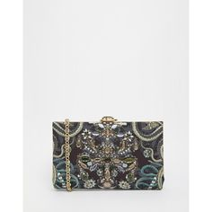 Ted Baker Embellished Hard Clutch (8.125 RUB) ❤ liked on Polyvore featuring bags, handbags, clutches, black, ted baker purse, box clutch, ted baker clutches, embellished handbags and hard clutch