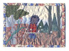 """""""Avoir du piquant""""  Chaque tableau est une création unique entièrement faite à l'aiguille; j'emploie différents tissus, du lin, du chanvre, du liberty , du coton etc. Les différentes matières ,points, épaisseurs varient. Je m'intéresse aux dictons populaires, riches en images, aux ressemblances, à l'imagerie enfantine et crée des """"mondes imaginaires""""."""