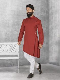 Shop Maroon terry rayon plain kurta suit online from India. Mens Indian Wear, Mens Ethnic Wear, Indian Groom Wear, Indian Men Fashion, Mens Fashion, Fashion Wear, Fashion Trends, Kurta Pajama Men, Kurta Men